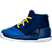 Left view of Boys' Toddler Under Armour Curry 3 Basketball Shoes in Team Royal/Caspian/Taxi