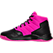 Left view of Girls' Preschool Under Armour Curry 2.5 Basketball Shoes in Black/Pink