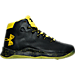 Right view of Boys' Preschool Under Armour Curry 2.5 Basketball Shoes in Black/Taxi