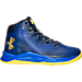 Right view of Boys' Preschool Under Armour Curry 2.5 Basketball Shoes in Blue/Gold - Away