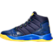 Left view of Boys' Preschool Under Armour Curry 2.5 Basketball Shoes in Blue/Gold - Away