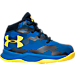 Right view of Boys' Toddler Under Armour Curry 2.5 Basketball Shoes in Blue/Gold - Away