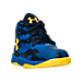 Three Quarter view of Boys' Toddler Under Armour Curry 2.5 Basketball Shoes in Blue/Gold - Away