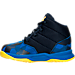 Left view of Boys' Toddler Under Armour Curry 2.5 Basketball Shoes in Blue/Gold - Away