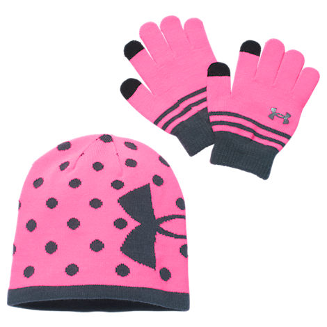 Girls' Under Armour Beanie Hat and Gloves Combo Pack