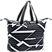 Front view of Women's Under Armour On The Run Tote Bag in Black/White