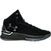 Right view of Men's Under Armour Curry 1 Luxury Mid Suede Off-Court Shoes in Black/Metallic Silver