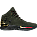 Right view of Men's Under Armour Curry 1 Luxury Mid Suede Off-Court Shoes in Green/Gold/Red