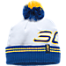 Front view of Men's Under Armour SC30 Pom Beanie Hat in White/Taxi/Royal