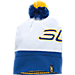 Back view of Men's Under Armour SC30 Pom Beanie Hat in White/Taxi/Royal