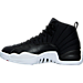 Left view of Men's Air Jordan Retro 12 Basketball Shoes in Black/Gym Red/White
