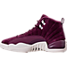 Left view of Men's Air Jordan Retro 12 Basketball Shoes in Bordeaux/Sail/Metallic Silver