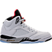 Right view of Men's Air Jordan Retro 5 Basketball Shoes in White/University Red/Black Matte