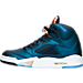 Left view of Men's Air Jordan Retro 5 Basketball Shoes in Obsidian/White/Metallic Red Bronze