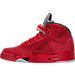 Left view of Men's Air Jordan Retro 5 Basketball Shoes in University Red/Black