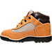 Left view of Boys' Preschool Timberland Field Boots in Mac N' Cheese- Wheat