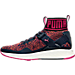Left view of Women's Puma Ignite 3 EVOknit Casual Shoes in Peacoat/Sparkling Cosmo/Orange