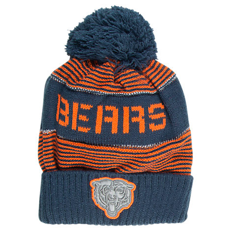 Kids' adidas Chicago Bears NFL Magna Reflective Cuff Pom Knit Hat