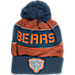 Front view of Kids' adidas Chicago Bears NFL Magna Reflective Cuff Pom Knit Hat in Team Colors