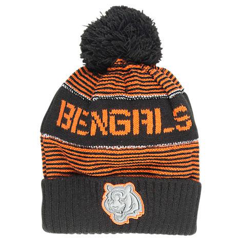 Kids' adidas Cincinnati Bengals NFL Magna Reflective Cuff Pom Knit Hat