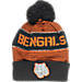 Front view of Kids' adidas Cincinnati Bengals NFL Magna Reflective Cuff Pom Knit Hat in Team Colors