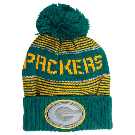 Kids' adidas Green Bay Packers NFL Magna Reflective Cuff Pom Knit Hat