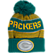 Front view of Kids' adidas Green Bay Packers NFL Magna Reflective Cuff Pom Knit Hat in Team Colors