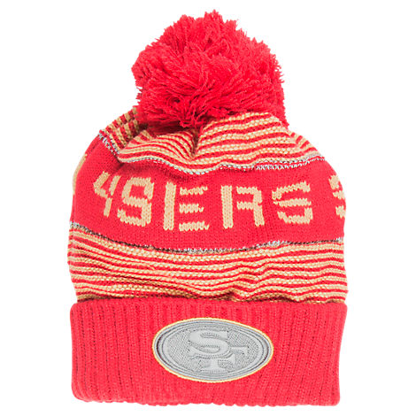 Kids' adidas San Fransisco 49ers NFL Magna Reflective Cuff Pom Knit Hat