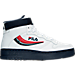Right view of Men's Fila FX-100 Casual Shoes in White/Red/Navy