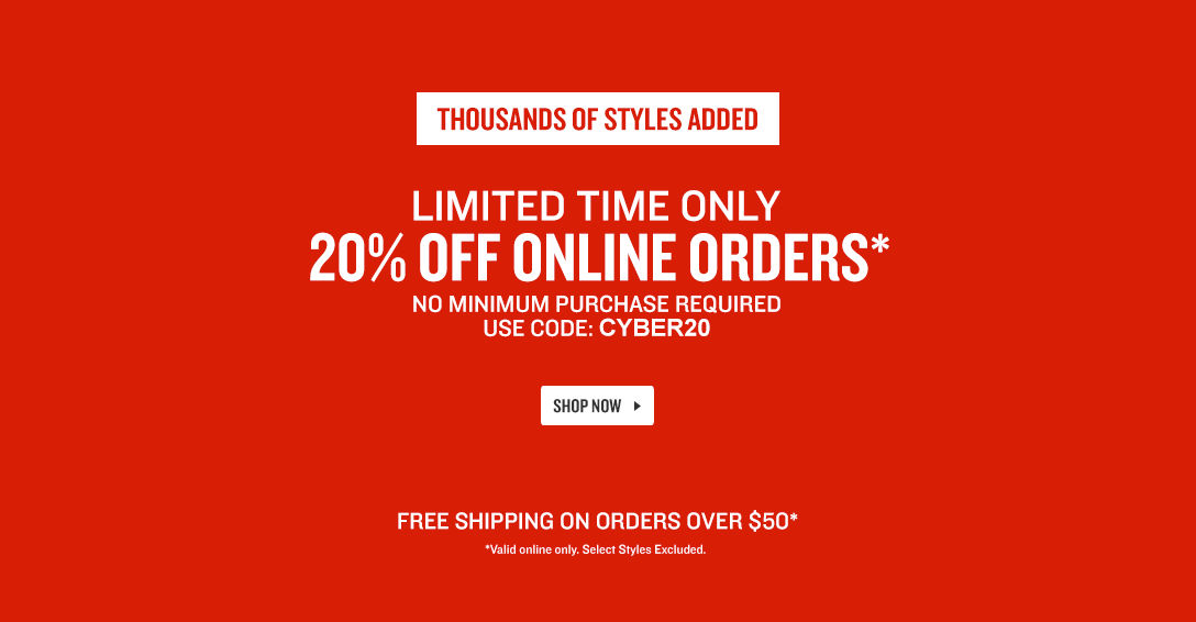 Limited Time Only. 20% Off Online Orders.