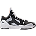 Right view of Men's BrandBlack Rare Metal Lightning Basketball Shoes in White/Black