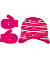 Girls' Toddler Nike Striped Beanie Hat and Mittens Set
