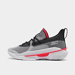 Mens 언더아머 Under Armour Curry 7 Basketball Shoes,White/White/Black