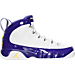Right view of Boys' Grade School Air Jordan Retro 9 Basketball Shoes in White/Tour Yellow/Concord -