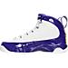 Left view of Boys' Grade School Air Jordan Retro 9 Basketball Shoes in White/Tour Yellow/Concord -