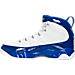 Left view of Men's Air Jordan Retro 9 Basketball Shoes in White/Tour Yellow/Concord
