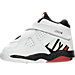 Left view of Boys' Toddler Air Jordan Retro 8 Basketball Shoes in White/Gym Red/Black/Wolf Grey