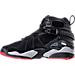 Left view of Boys' Grade School Air Jordan Retro 8 Basketball Shoes in Black/Gym Red/Wolf Grey