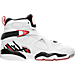 Right view of Boys' Grade School Air Jordan Retro 8 Basketball Shoes in White/Gym Red/Black/Wolf Grey