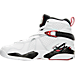 Left view of Boys' Grade School Air Jordan Retro 8 Basketball Shoes in White/Gym Red/Black/Wolf Grey