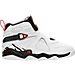 Right view of Boys' Preschool Jordan Retro 8 Basketball Shoes in White/Gym Red/Black/Wolf Grey