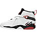 Left view of Boys' Preschool Jordan Retro 8 Basketball Shoes in White/Gym Red/Black/Wolf Grey