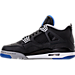 Left view of Men's Air Jordan Retro 4 Basketball Shoes in Black/Soar/Matte Silver