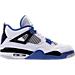 Right view of Men's Air Jordan Retro 4 Basketball Shoes in White/Game Royal/Black