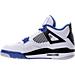 Left view of Men's Air Jordan Retro 4 Basketball Shoes in White/Game Royal/Black