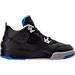 Right view of Boys' Preschool Jordan Retro 4 Basketball Shoes in Black/Soar/Matte Silver