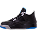 Left view of Boys' Preschool Jordan Retro 4 Basketball Shoes in Black/Soar/Matte Silver