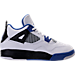 Right view of Boys' Preschool Jordan Retro 4 Basketball Shoes in White/Game Royal/Black