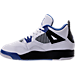 Left view of Boys' Preschool Jordan Retro 4 Basketball Shoes in White/Game Royal/Black