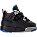 Right view of Boys' Toddler Jordan Retro 4 Basketball Shoes in Black/Soar/Matte Silver/White